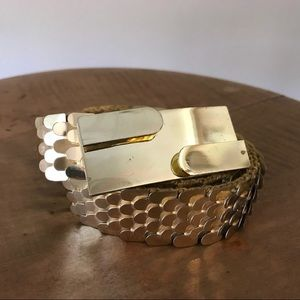 Vintage Gold Metal Stretch Belt Rectangular Buckle